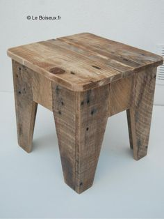 Pallet stool. Make from pallets with labels or spray on your own design.