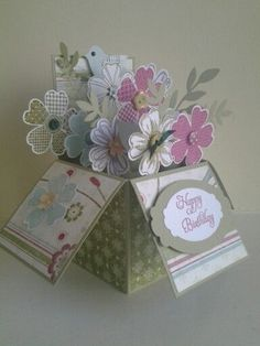 Flower shop pop up box Card In A Box, Pop Up Box Cards, Card Boxes, Organizer Box, Exploding Box Card, Memories Box, Fancy Fold Cards, Paper Cards, Flower Cards