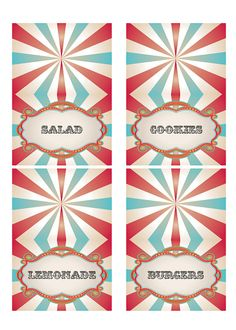 These PRINTABLE (DIY) food label are a perfect match for the Vintage Carnival Circus invitations. Party materials can be printed at home or your local print shop. Print, cut, fold and party! Its as easy as that!    PRINTABLE Vintage Carnival Circus food label tents are designed to print on 8.5 X 11 sheets of paper. Four labels per sheet are provided and each label 3.5 wide by 2.5 high folded and 3.5 wide by 5 high flat. A hi-res pdf will be provided via email. Please include your 4 menu…