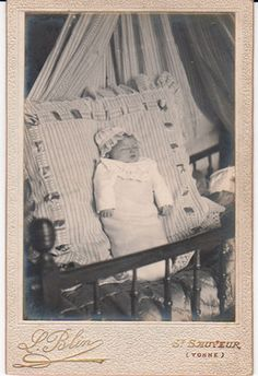 Cabinet Photograph Post Mortem of A Young Baby French Holds Flowers | eBay