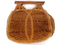 Vintage Ladies Hessian Bag with Wooden by importanceofliving, $35.00