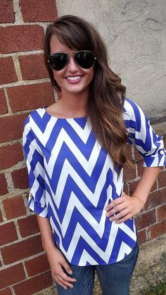 Ink Blue Chevron Top | The Rage