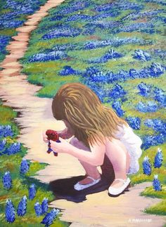 Bluebonnets painted by Alyssa Boran featuring with her daughter holding spyder man in a field of bluebonnets.. This charming painting was inspired by one of th 300 acrylic tutorials we have on www.gingercooklive.gallery.