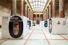 Exhibition at a hall of the Austrian Parliament. Numbers are used as windows to attract young visitors. Stand Design, Display Design, Booth Design, Web Banner Design, Exhibition Display, Exhibition Space, New Museum, Design Museum, Museum Exhibition Design