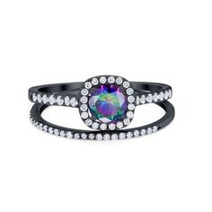 Fine Women 12mm 925 Silver Oval Simulated Blue Opal Baguette CZ Ladies Ring Band
