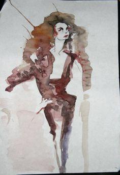 fashion illustration by Oly Cazac / aquarelle
