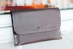 Personalized Leather ipad Mini / Galaxy Tab case. Waxed leather i pad envelope. $44