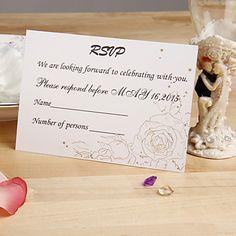 Gold Sketch Floral Response Card - Set of 12 – EUR € 5.59
