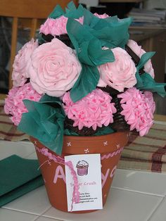 A rose and hydrangea cupcake bouquet for a brand new mom with chocolate cupcakes and vanilla buttercream. Cupcake Flower Pots, Hydrangea Cupcakes, Cupcake Bouquets, Buttercream Cupcakes, Cupcake Cakes, Vanilla Buttercream, Cupcake Ideas, Cupcake Arrangements, Cookie Desserts