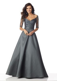 Larissa Satin Mother of the Bride gown with Beaded Net Sleeves