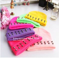 high quality punk  Autumn and winter warm women neon color multicolour spike rivet knitted yarn  cap online cheap beanies hat US $3.70
