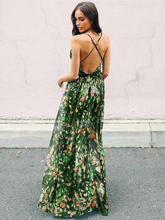 34003f0f8e0 Bohemia Floral V Neck Backless Maxi Dress Floral Maxi Dress