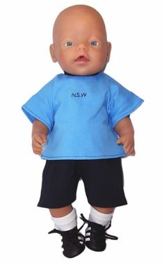Go the Blues!  NSW State of Origin fans, this one is for you!  Shirt has NSW embroidered on the front and fastens at the back with a Velcro strip.  Pants simply pull on with elastic waist.