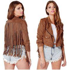 Corta adicional de cuero Suede Fringe Jacket Women 2015 nueva moda otoño chaquetas Chaquetones Mujer Chaqueta Flecos Vestes verter Femmes