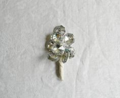 Boutonniere Ivory Wedding Bout Rhinestone by DistinctiveEvents, $8.95