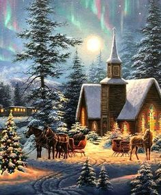 Christmas Scenery, Christmas Past, Christmas Pictures, Winter Christmas, Vintage Christmas Cards, Retro Christmas, Country Christmas, Winter Images, Winter Pictures