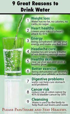 Dica: 9 razões para beber água. Deve beber cerca de 1L de água por cada 25 a 30 Kg de peso.
