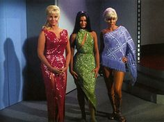"""The women of Star Trek TV Series. """"Muds Woman""""  From left to right: Eve McHuron, Ruth Bonaventure and Magda Kovacs. In the same order they were played by actres: Karen Steele, actres: Maggie Thrett, and actres: Susen Denberg."""