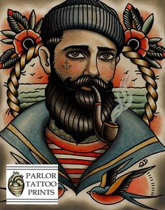 old school tattoo portrait - bearded man