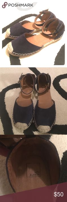 14 & Union Espadrille Sandals Navy Blue Suede Espadrille Sandals, Closed toed with ankle straps 14th and Union Shoes Espadrilles