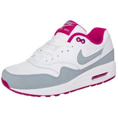 Nike Sportswear AIR MAX 1 ESSENTIAL Trainers/pink/grey ($115) ❤ liked on Polyvore featuring shoes, nike, white, grey shoes, pink flat shoes, gray shoes, leather flat shoes and white shoes