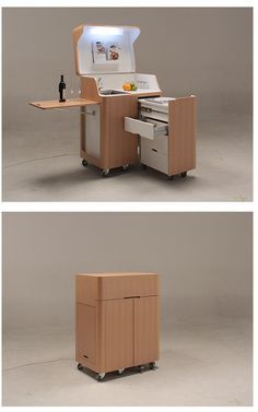 Kenchikukagu Mobile Furniture - kitchen cart but modify it as a computer workstation