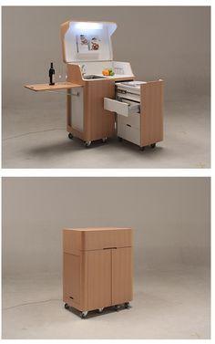 Kenchikukagu Mobile Furniture - kitchen cart but modify it as a computer workstation