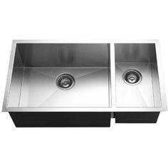 Houzer CTO-3370SR Contempo Series Undermount Stainless Steel 70/30 Double Bowl Kitchen Sink, Prep bowl Right