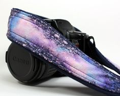 Galaxy  No.115 Camera Strap, Hand painted, One of a Kind, dSLR or SLR, Cosmos, Nebula. $39.00, via Etsy.