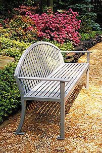 Model RMFC-24: Graceful gentle curves combined with strong, straight lines ... a dramatic and elegant design. Highly durable steel slats make this bench an enduring favorite for all settings