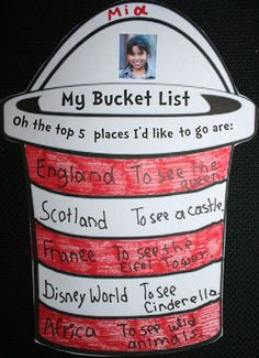 My Bucket List: Writing Prompt Craftivities