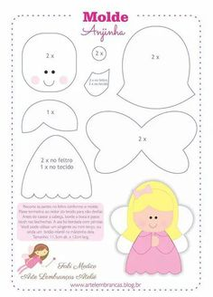little angel pattern Felt Patterns, Applique Patterns, Stuffed Toys Patterns, Craft Patterns, Felt Christmas Decorations, Felt Christmas Ornaments, Christmas Crafts, Christmas Fairy, Felt Diy