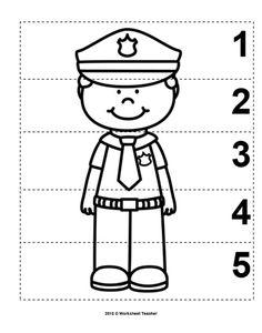 10 Community Helpers Number Sequence Preschool Math B&W Community Helpers Pictures, Community Helpers Activities, Police Activities, Community Helpers Kindergarten, Police Officer Crafts, Police Crafts, Police Hat, Community Workers, Number Sequence