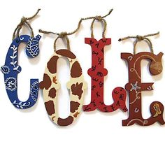 Wall letters kids western theme children's bedding, room decor at Quilts Just 4 Kids
