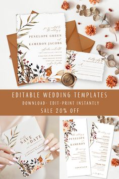 Editable Printable Wedding Invitation Fall- Rustic Wedding- Fall Wedding- Minimal Modern Invitation Set- SALE OFF- Best Wishes Paper on ETSY wedding fall Editable Printable Wedding Invitation Fall- Rustic Wedding- Minimal Invitation- Best Wishes Paper Vintage Wedding Invitations, Rustic Invitations, Printable Wedding Invitations, Wedding Invitation Templates, Invitation Design, Wedding Stationery, Invites, Wedding Cards, Wedding Favors
