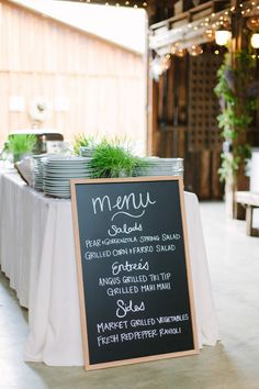 Simple chalkboard wedding sign for wedding menu - spring wedding dinner menu idea {Megan Clouse Photography}