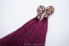 Wine earrings. Tassel earrings. Red earrings. Embroidery