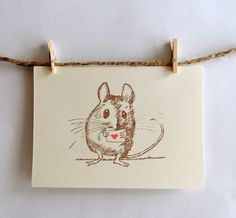 Madge & Mabel Field Mouse Love -  This adorable little field mouse holding a pink heart is perfect for sending someone a little love.    Madgeandmabel.etsy.com