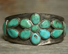 Early Navajo Native American Cluster Turquoise Sterling Silver Cuff Bracelet | eBay