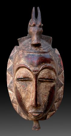 Africa | Mask from the Yaure people of the Ivory Coast | Wood and pigment