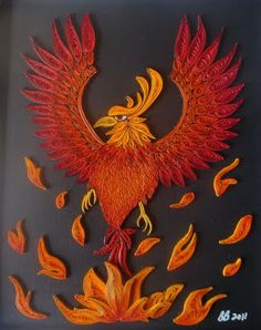 Quilled Phoenix bird - I love the flames and the different sizes for the body vs. the wings