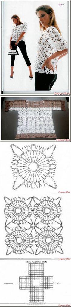 крючком Blusas con motivos ronda método de tricotar no separada.Blusas con motivos ronda método de tricotar no separada. Crochet Squares, Crochet Motif, Irish Crochet, Crochet Stitches, Free Crochet, Knit Crochet, Crochet Patterns, Crochet Jacket, Crochet Beanie
