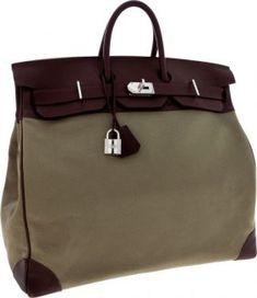 10948a91e066 Hermes 50cm Havane Swift Leather   Olive Canvas HAC Travel Birkin Bag with  Palladium Hardware Birkin