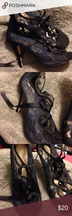 Torrid lace up heeled bootie 4 inch heels, Torrid, only worn once indoors, dark blue lace with black heel and ribbon torrid Shoes Heeled Boots