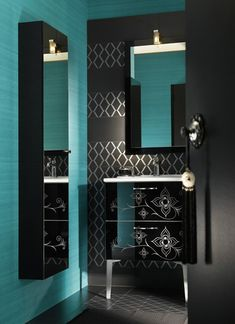 Cool Moroccan Bathroom Furniture from Delpha : Modern Moroccan Bathroom Furniture With Blue Wall And Wooden Black Storage And Ceramic Floor