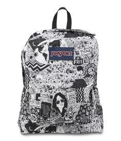 Jansport Superbreak Backpack - Black / White Free Spirit Available at www.canadaluggagedepot.ca