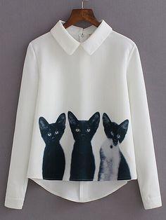 Blusa solapa manga larga gatos -blanco-Spanish SheIn(Sheinside)