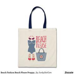 Beach Fashion Beach Please Preppy Set Grocery Tote Bag - June 25