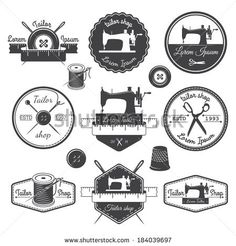 Set of vintage tailor labels, emblems and designed elements. Tailor shop theme - stock vector