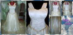 2 piece dress. Corset bodice with gold embroidered dutch satin. Skirt layered with crushed gold organza with small pleats attached with beads. Bead trimming on corset edging. Veil made to match. From R4200 - See more at: http://www.passion4fashion.co.za/wedding-dresses.html#sthash.HMksDLCw.dpuf